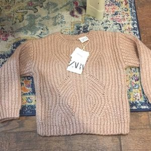 NWT Zara knit soft pink sweater